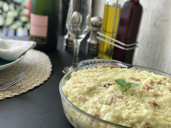 RISOTTO DE PALMITO COM BACON